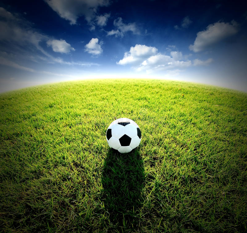 Football field soccer stadium on the green grass blue sky sport. Game background for design stock images