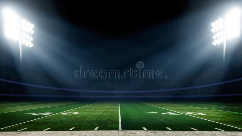 Football field with stadium lights stock photos