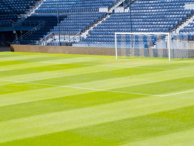 Football field in sunlight. Images for commercial user.n royalty free stock photography