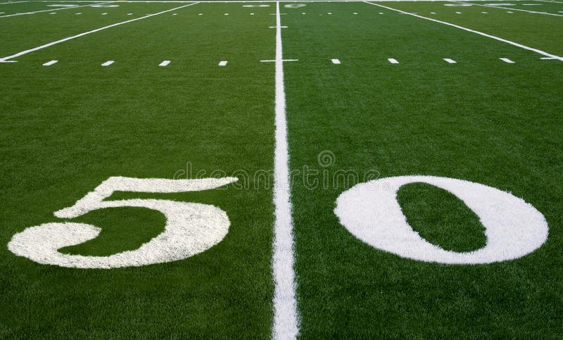 Football Field 50 Yard Line royalty free stock photo
