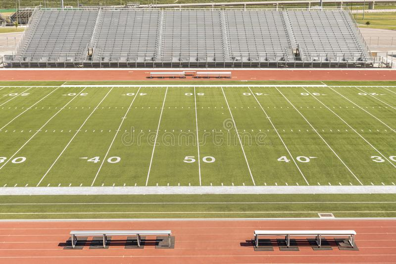 Football field at the 50 yard line royalty free stock photo