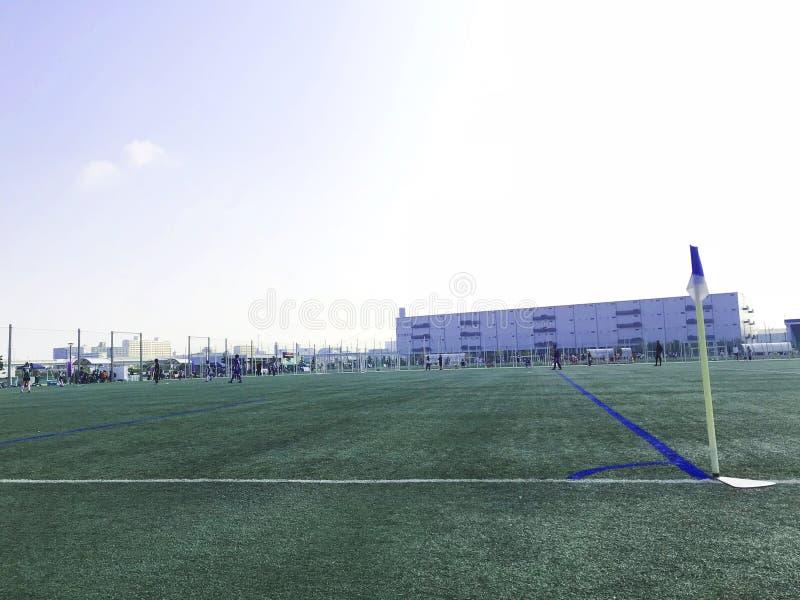 Football field. Concept of sport.beautiful pattern of fresh green grass for football sport. stock photo