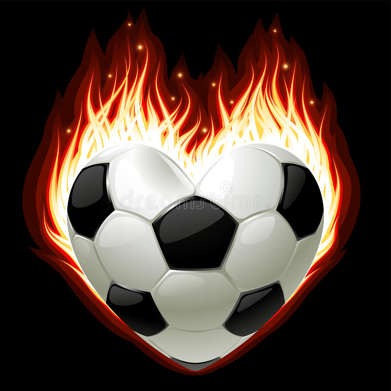 Download Football On Fire In The Shape Of Heart Stock Vector - Image: 19040307