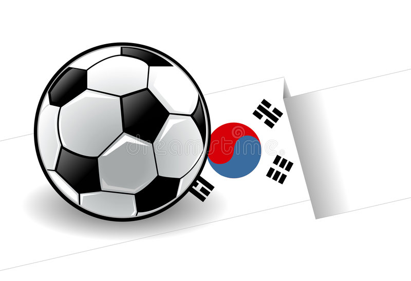 Football with flag - Korea vector illustration