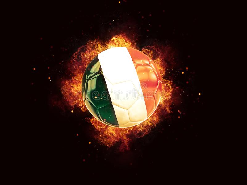 Football in flames with flag of italy royalty free illustration