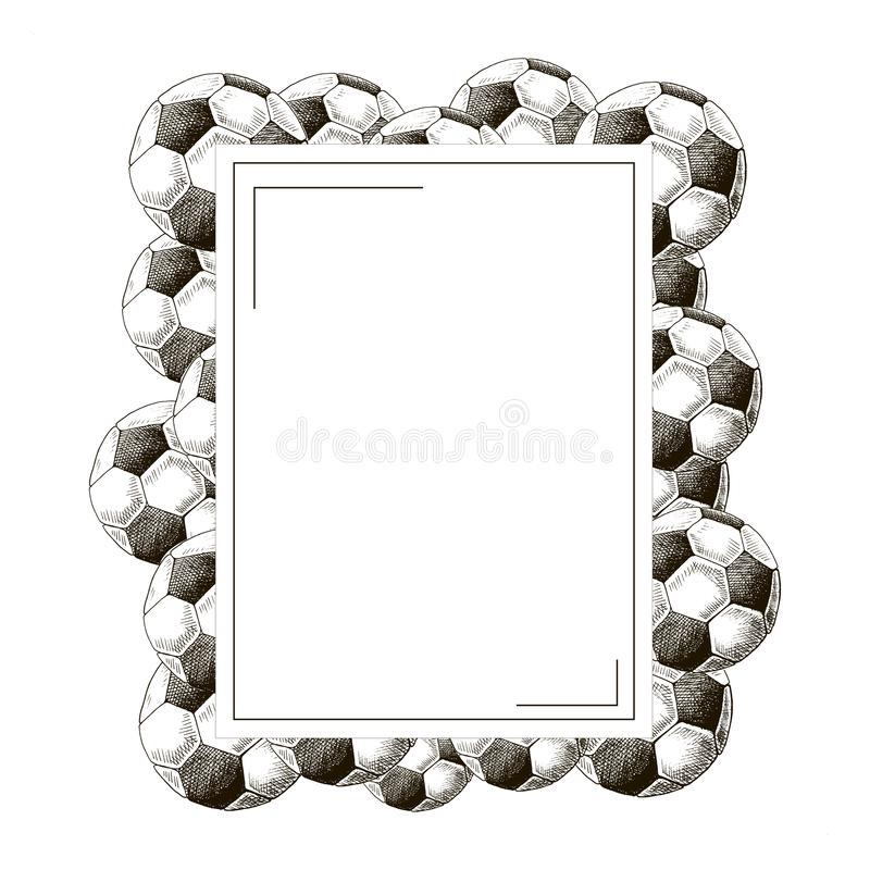 Football frame. Hand drawn sketch style soccer balls. royalty free illustration