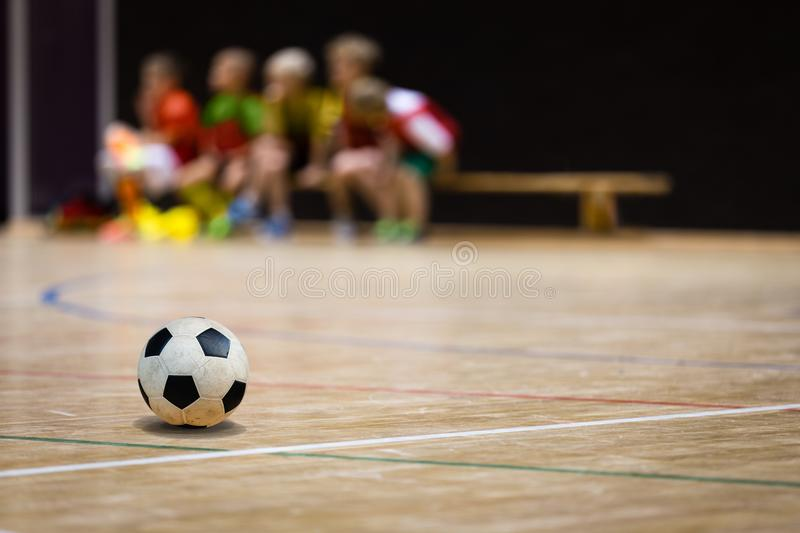 Football Futsal Ball and Youth Team. Indoor Soccer Sports Hall royalty free stock images