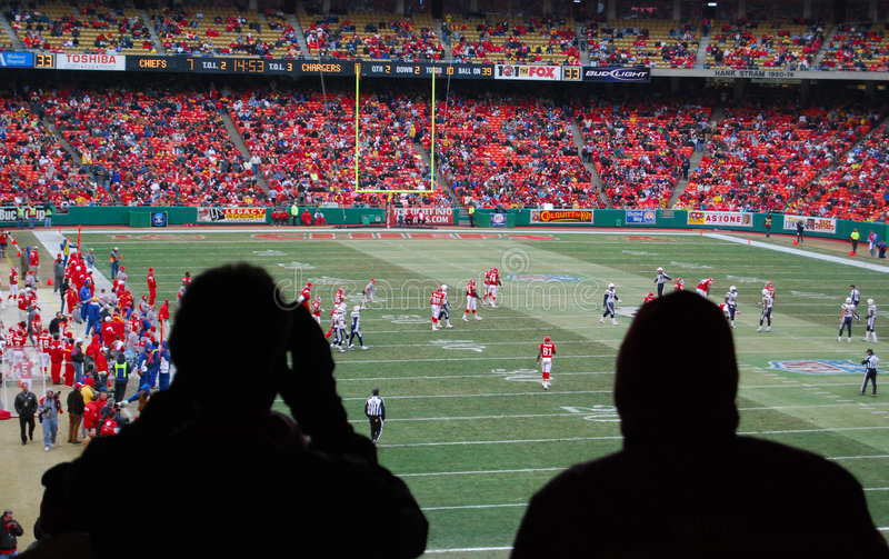 Football Game. Watching the football game at the kansas city chiefs stadium versuses San Diego Chargers stock photo