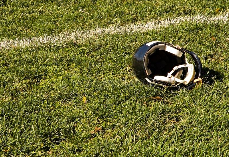 Football Goal Line and Helmet stock image