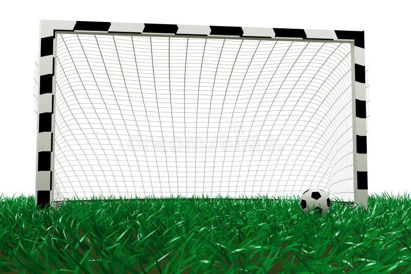 Football goal and soccer ball royalty free illustration