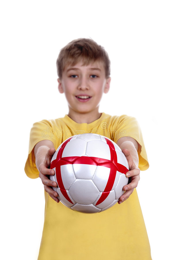 With a football in a hand … royalty free stock photo