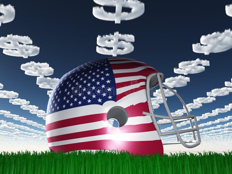 Football-Helm der amerikanischen Flagge auf Gras stock abbildung