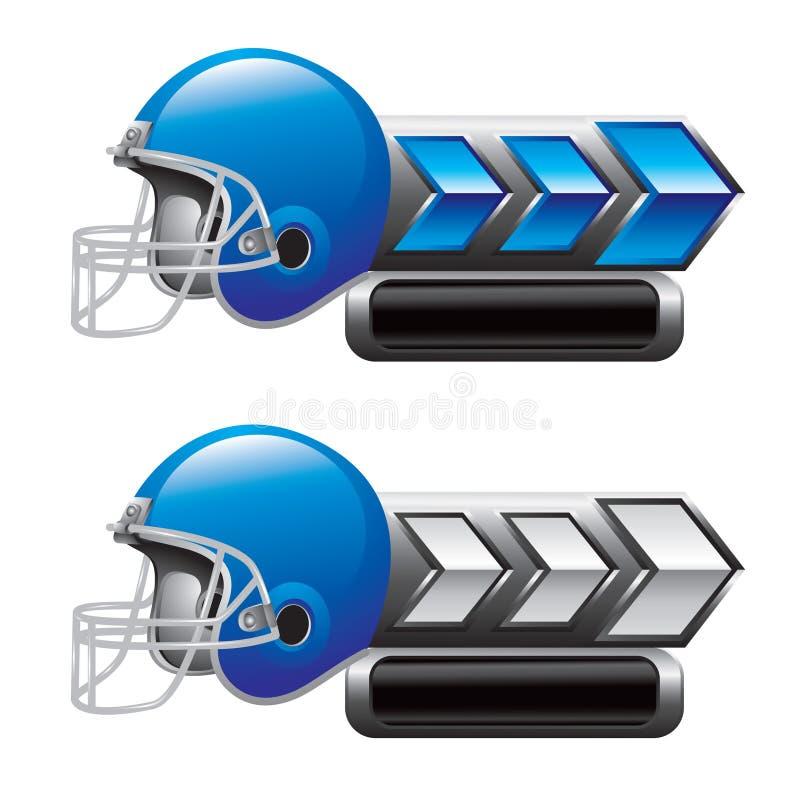 Football helmet on blue and white arrow banners. Blue football helmet on blue and white arrow banners royalty free illustration