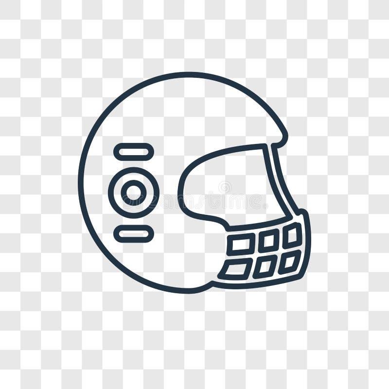 Football helmet concept vector linear icon isolated on transparent background, Football helmet concept transparency logo in. Football helmet concept vector vector illustration