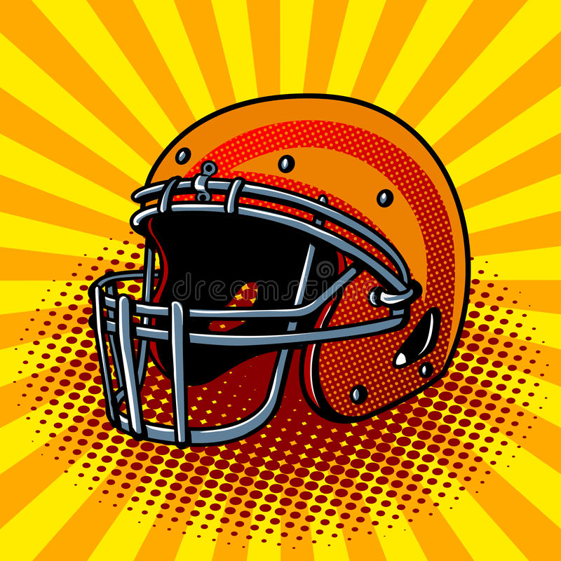 Football helmet pop art style vector illustration stock illustration