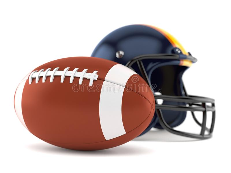 Football helmet with rugby ball. Isolated on white background royalty free illustration