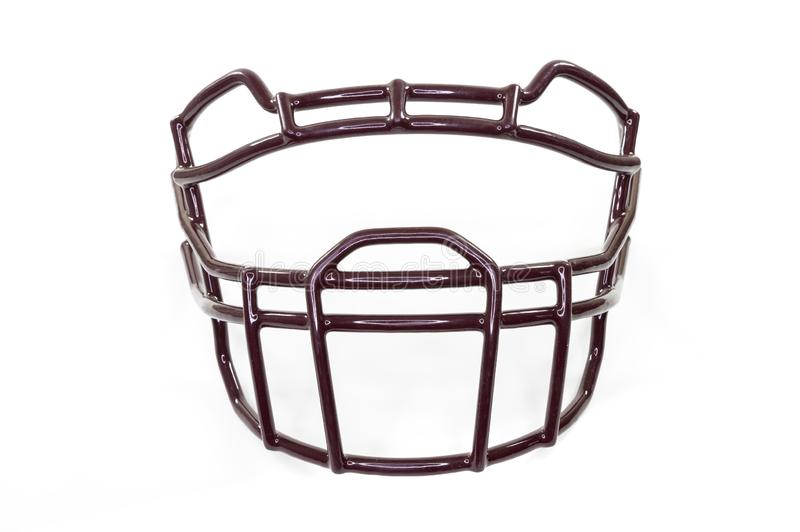 A football helmet`s facemask, isolated on white background, from the front stock photo