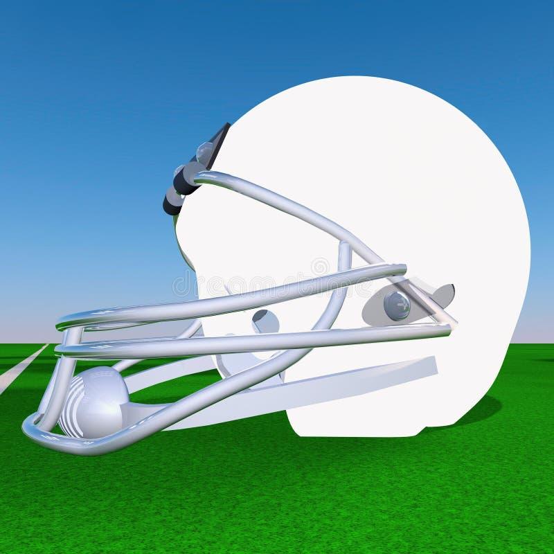 Football helmet. White football helmet over green football field, 3d render royalty free illustration