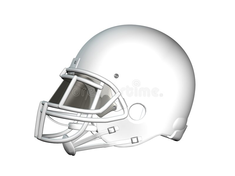 Football Helmet - White, Profile. Digital image of white, unmarked American football helmet shown in profile on white background stock illustration