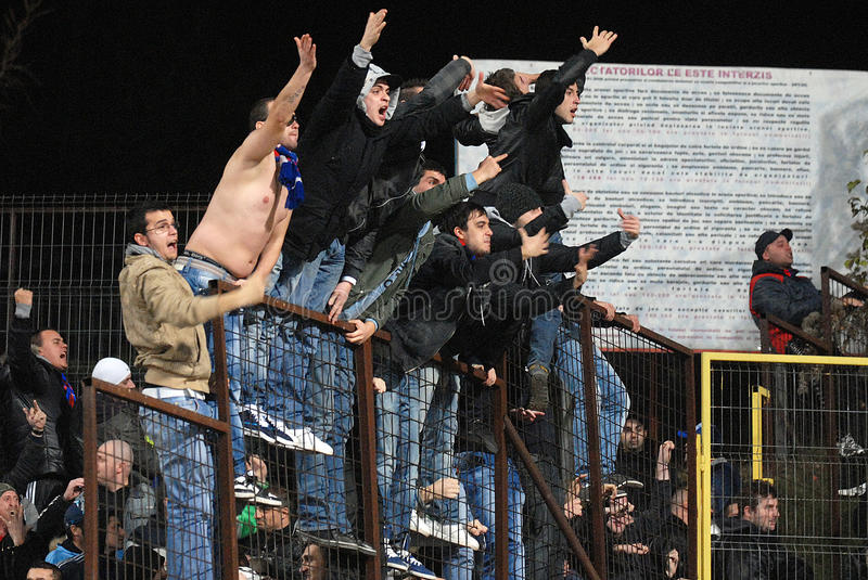 Football hooligans royalty free stock photography