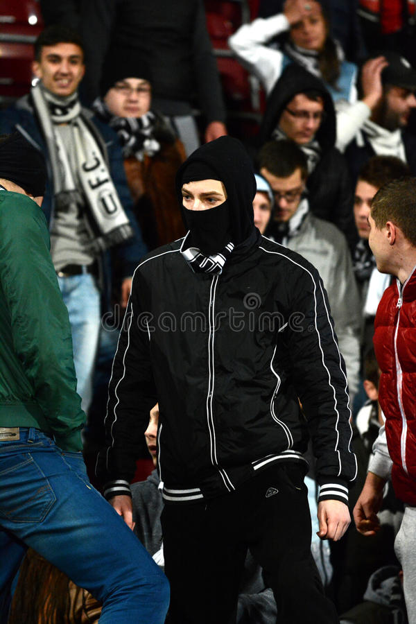 Football hooligans in a stadium stock images