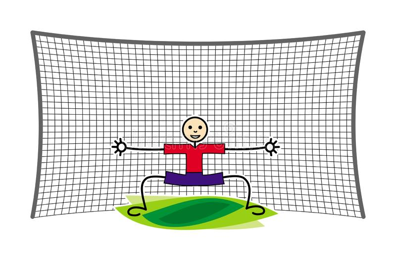 Football / Soccer goalkeeper in goal. Funny cartoon picture. Vector graphics. Football / Soccer goalkeeper in goal. Little man in red and blue. Symbolic picture royalty free illustration