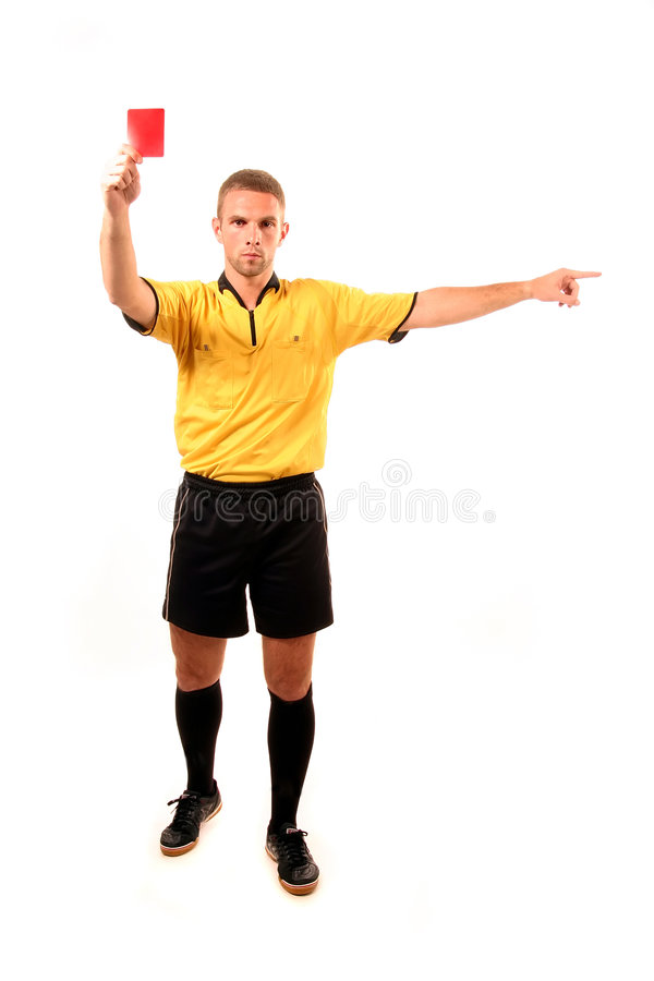 Football judge with card royalty free stock photo