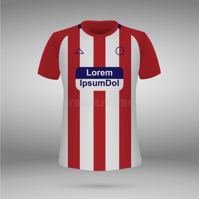T-shirt. soccer jersey. Vector illustration. Football kit Atletico Madrid, t-shirt. soccer jersey. Vector illustration royalty free illustration
