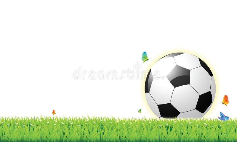 Football on the Lawn. White background vector illustration