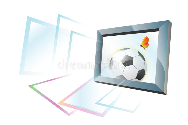 Football on the Lawn. White background stock illustration