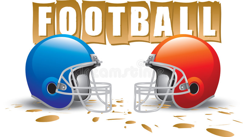 Football logo. Two football helmet facing each other with a football sign in the background