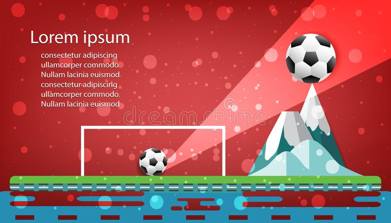 Football logo design graphics concept soccer culmination on mountain in red background vector illustration.  vector illustration