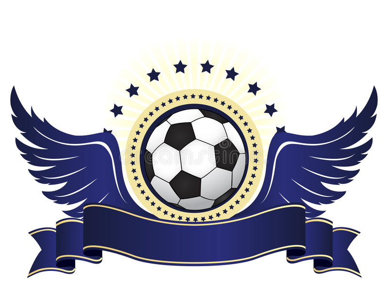 Football logo with ribbon and wings stock illustration