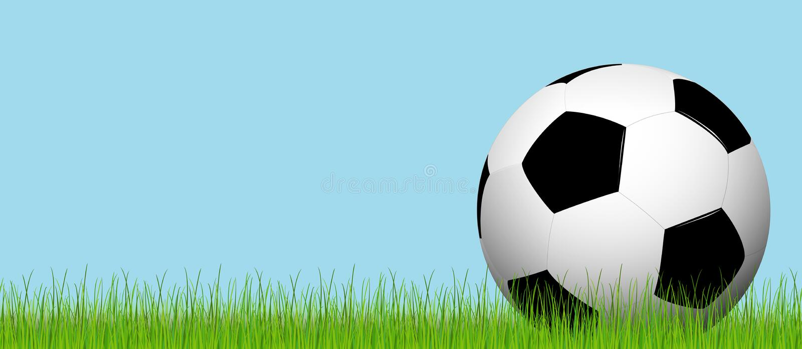 Football lying on the grass. Black and white soccer ball lying on the grass with blue sky vector illustration