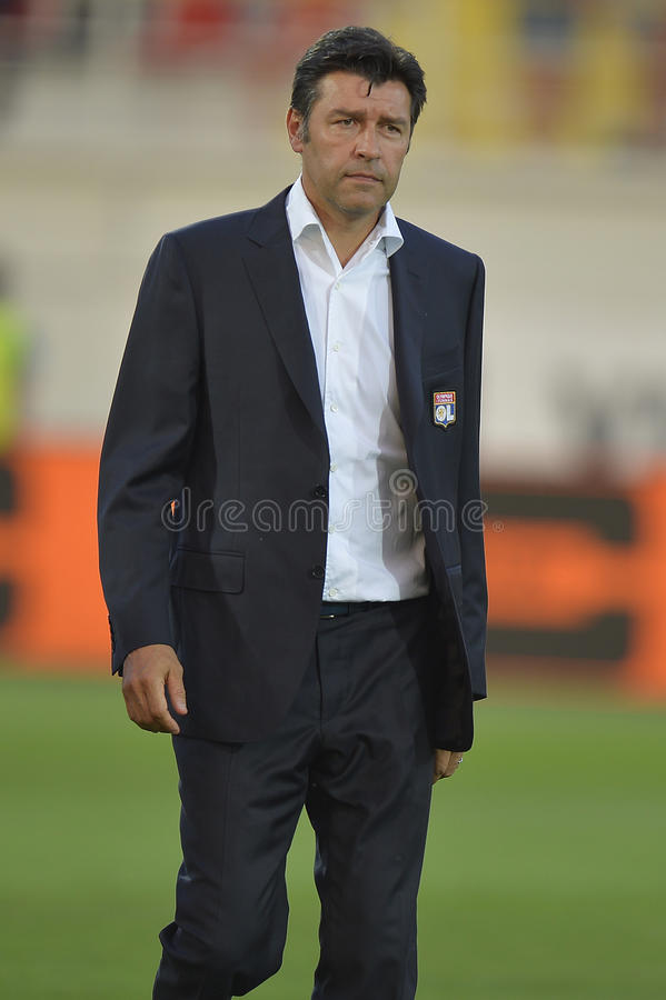 Football manager - Hubert Fournier. Hubert Fournier, manager of Olympique Lyonnais pictured during the Europa League match between his team and Astra Giurgiu stock photos
