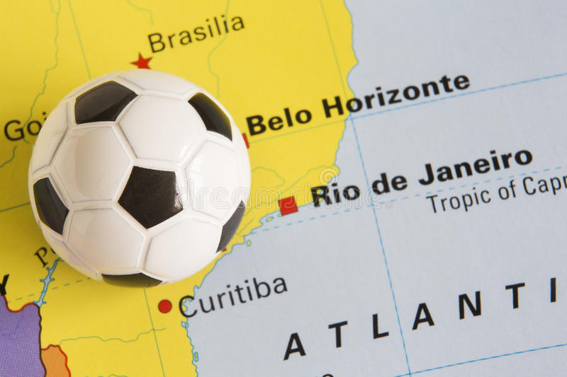 Football on map of brazil to show 2014 rio fifa world cup tournament download football on map of brazil to show 2014 rio fifa world cup tournament stock photo gumiabroncs Images