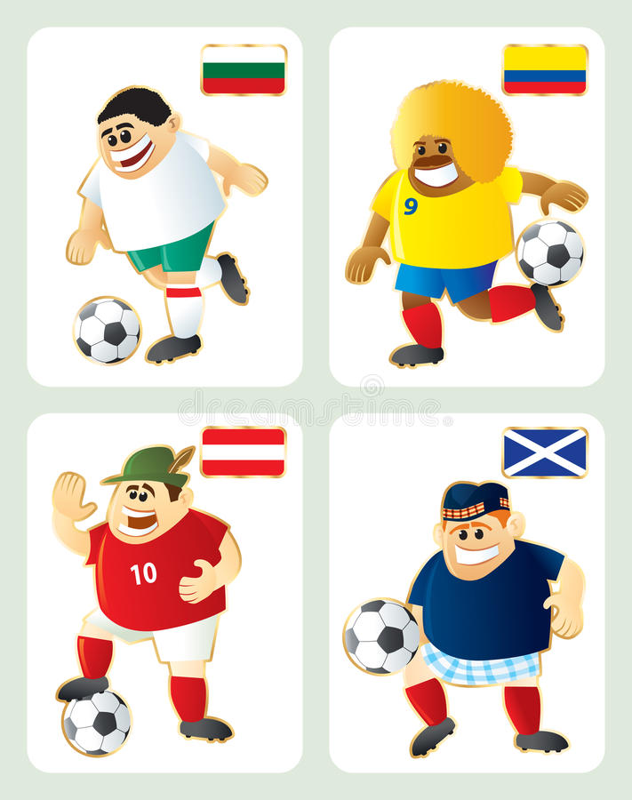 Download Football Mascots BUL COL AUT SCO Stock Photography - Image: 14242532