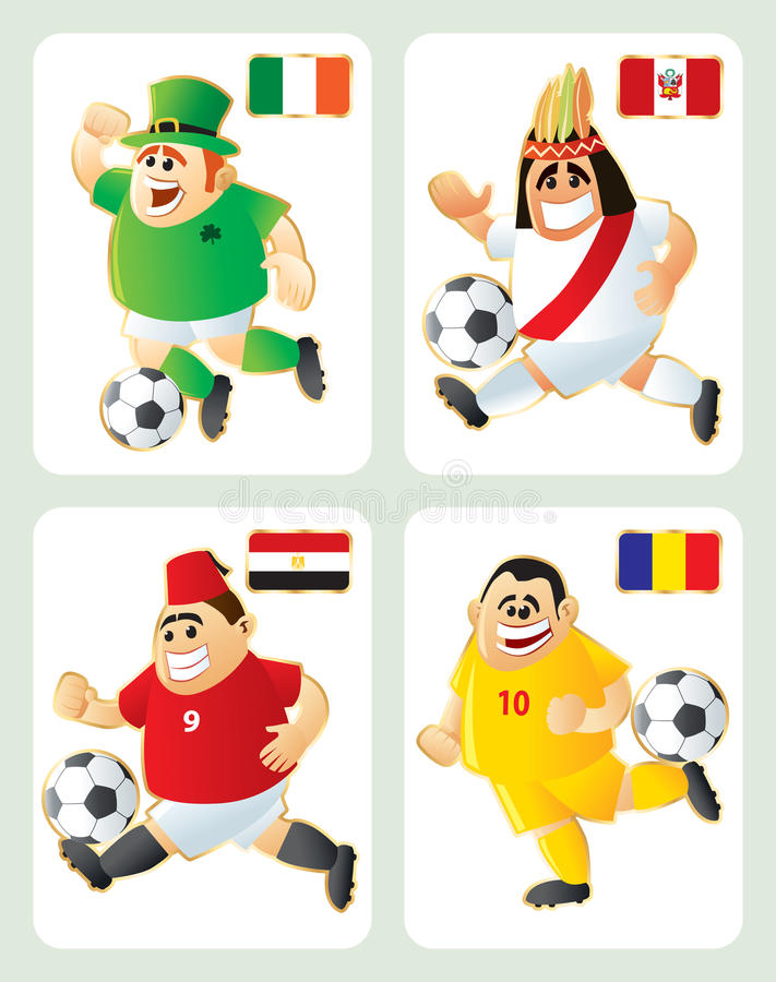 Download Football Mascots IRL PER EGY ROM Stock Vector - Image: 14242565