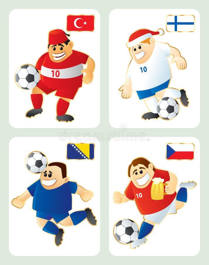 Football Mascots TUR FIN BIH CZE Royalty Free Stock Photo
