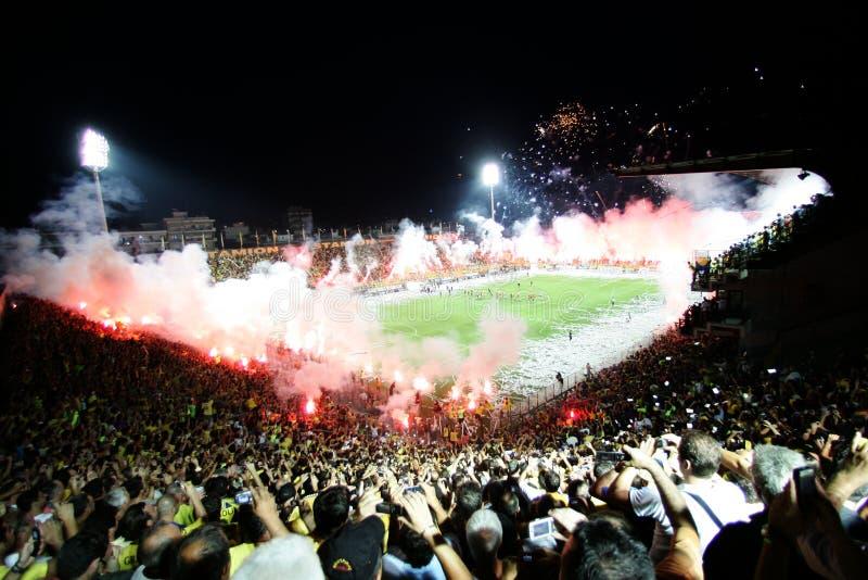 Football match between Aris and Boca Juniors royalty free stock photos