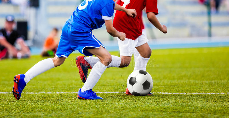 Football Match for Children. Kids Playing Soccer Tournament Game royalty free stock image