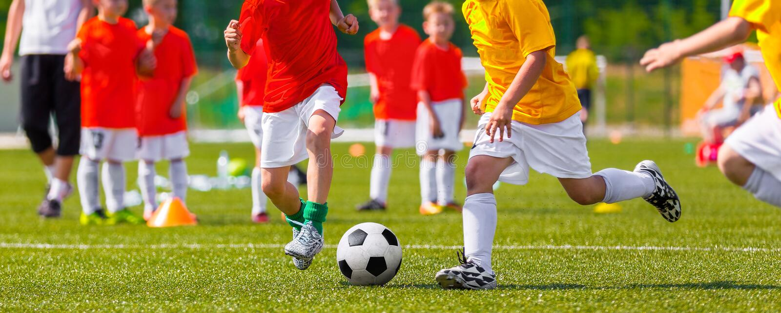 Football Match For Children. Training and Soccer School TournameNT. Football Match For Children. Training and Football Soccer School Tournament. Group of Boys royalty free stock photography