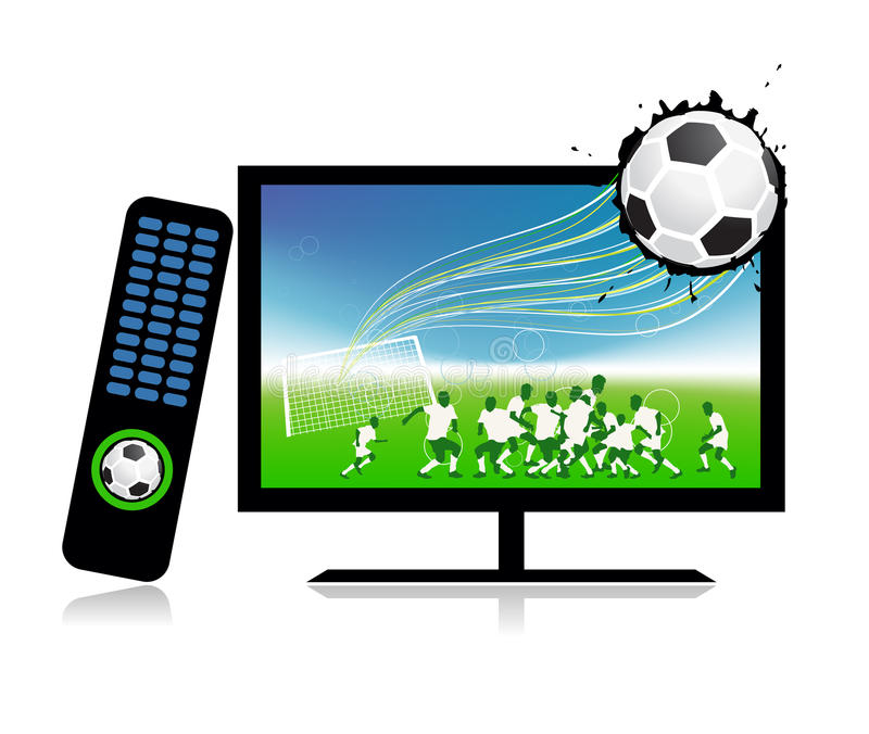 Download Football Match  On Tv Sports Channel Royalty Free Stock Photography - Image: 15259767