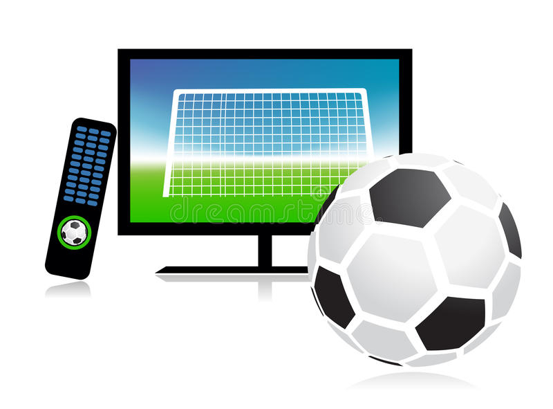 Football Match  On Tv Sports Channel Royalty Free Stock Photos