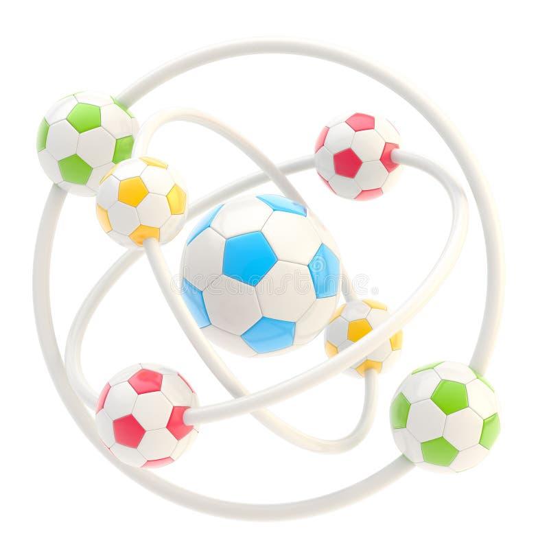 Football molecule made of balls royalty free illustration