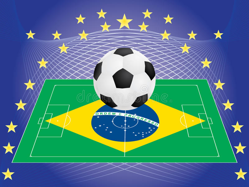 Download Football Over Pitch With Brazilian Flag Stock Vector - Image: 25805247