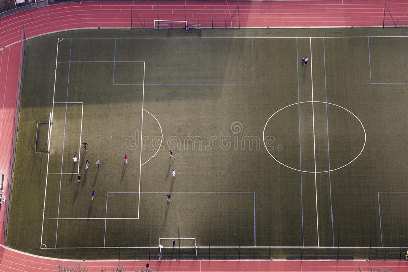 Football in Paris, from the Tour Eiffel stock photography