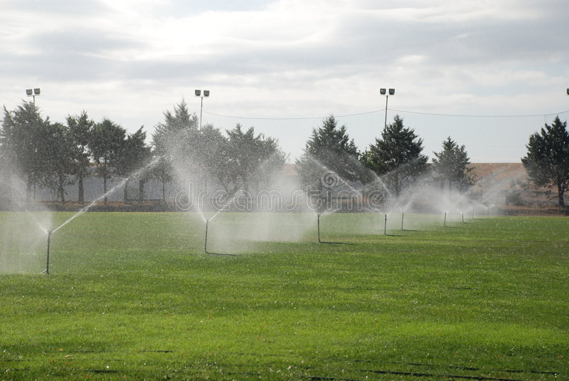 Download Football Pitch Under Irrigation Stock Photo - Image: 6399726