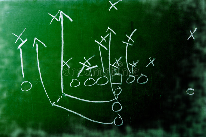 Football Play Diagram on Chalkboard stock photography