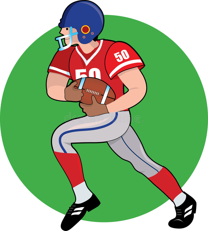 Football Player. Running with the ball stock illustration